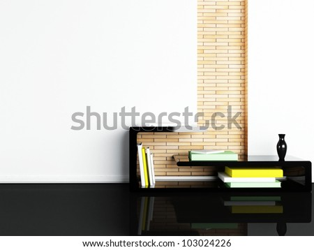 Interior design scene with a creative table - stock photo