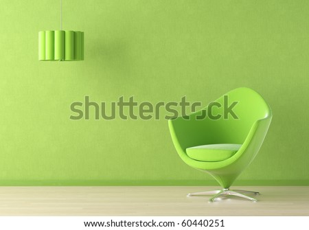 Interior design scene with a modern green couch and lamp on green wall - stock photo