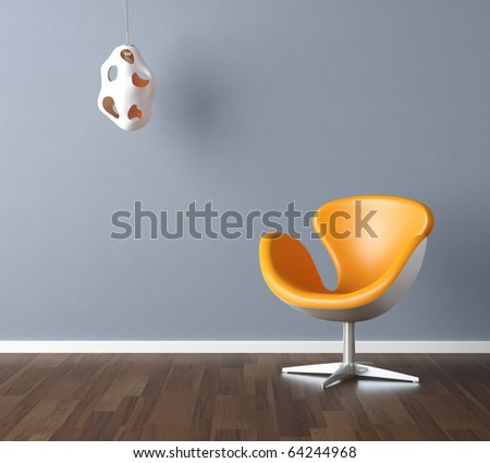Interior design scene with a modern yellow chair and lamp on pale blue wall, copy space in the wall - stock photo