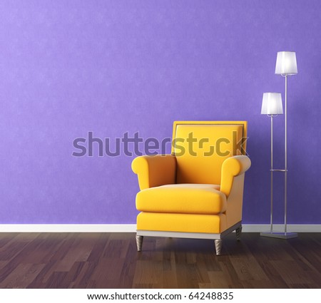 Interior design scene with a modern yellow couch and lamp on violet wall, copy space on the wall - stock photo