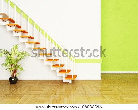 Interior design scene with a plant and the stairs in the room - stock photo