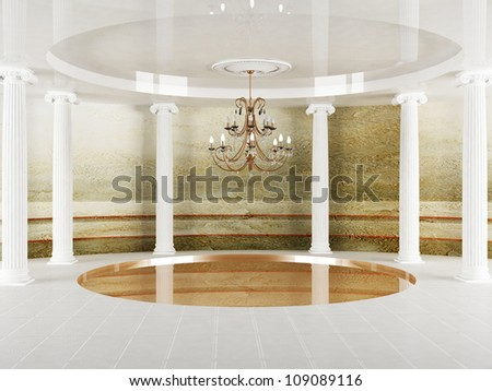 Interior design scene with columns and a chandelier in empty room - stock photo
