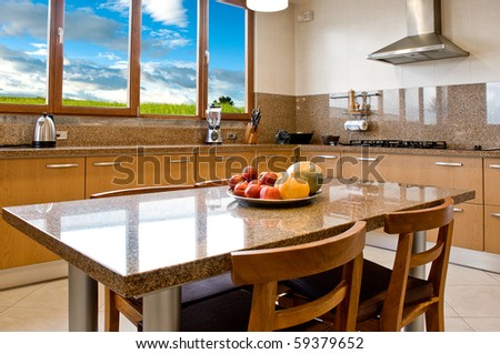 Interior design series: classic and modern kitchen with landscape view - stock photo