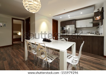Interior design series: Modern Apartment, Dining room and Kitchen - stock photo