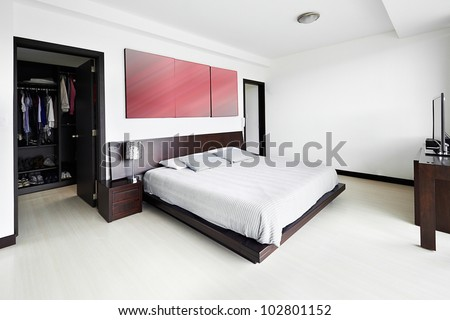 Interior design series: Modern Bedroom - stock photo