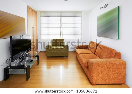 Interior design:  TV room - stock photo