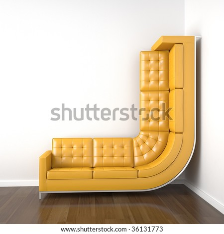 interior design with a bended yellow couch in a corner white room climbing up the wall with plenty copy space. - stock photo