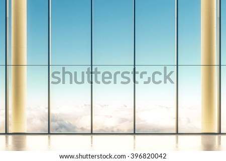 Interior design with large windows and blue sky view. 3D Render - stock photo