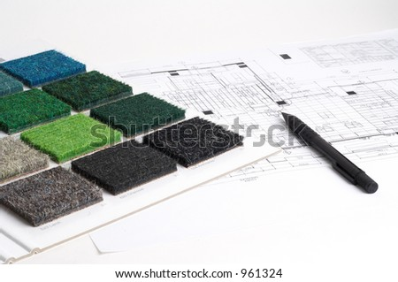 interior designer choosing color and materials - stock photo