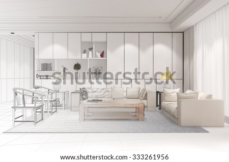 Interior designer doing CAD room planning for a modern living room (3D Rendering) - stock photo