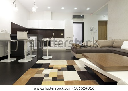 Interior designer living room with kitchen - stock photo