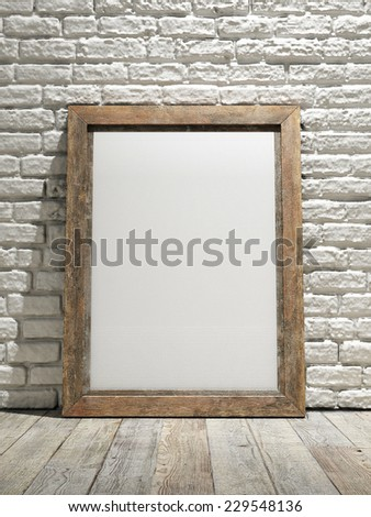 Interior eith frame poster background, white brick wall - stock photo