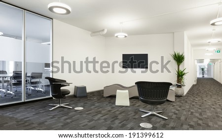 Interior, empty hall in modern building  - stock photo