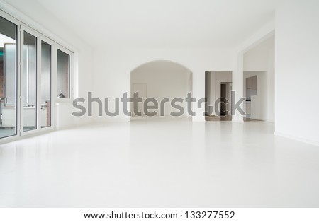 interior empty house, white walls