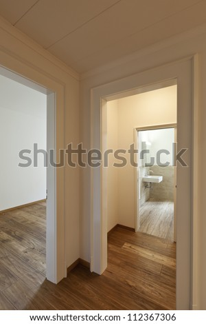 interior empty house with wooden floor, passage