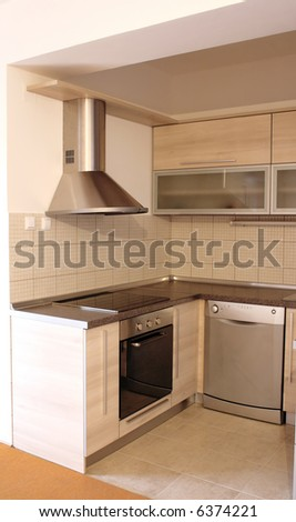 interior - empty new kitchen ready for use - stock photo