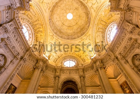 Interior facade of The Cathedral of Saint Mary of the See - stock photo