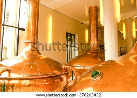 Interior factory. Old style of brewing beer. Nineteenth Century