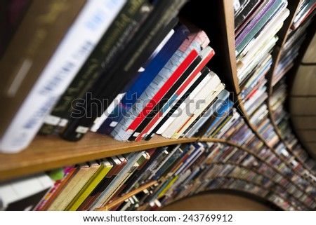 Interior from library with long book case - stock photo