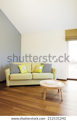 Interior - green sofa in front of blank wall in a bright room  - stock photo