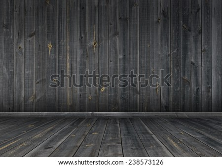 Interior. Grunge dark wood wall and floor, background texture.