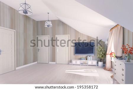 Interior hall attic (3D rendering) - stock photo