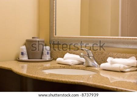 interior hotel bathroom - stock photo