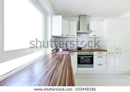 interior house, large modern kitchen - stock photo