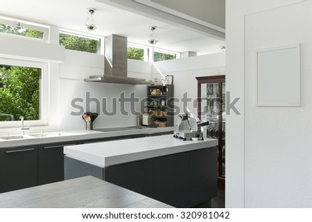 Interior house, view of a modern kitchen - stock photo