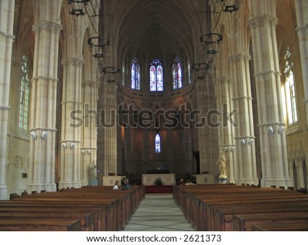 Interior indoors photo of a church cathedral - stock photo