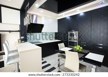 Interior kitchen. Modern kitchen - stock photo