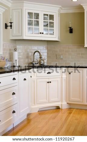 interior kitchen showing a corner sink - stock photo