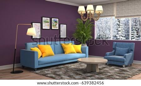 Interior Sofa 3d Illustration Stock Illustration 410178223 ...