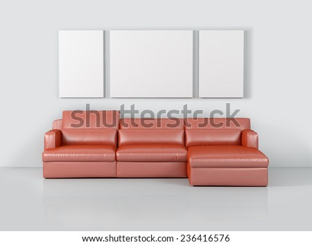 Interior living room with sofa and carpet on hardwood floor - stock photo