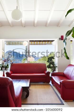 interior loft, furnished livingroom - stock photo