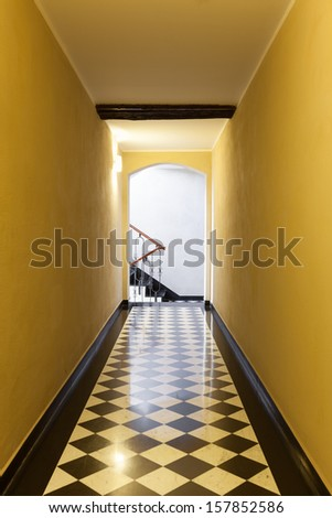 interior, long hallway of an old building - stock photo