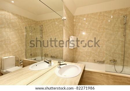 interior luxury apartment, bathroom - stock photo