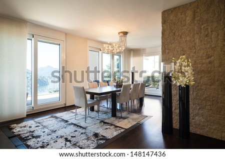 interior luxury apartment, beautiful dining room