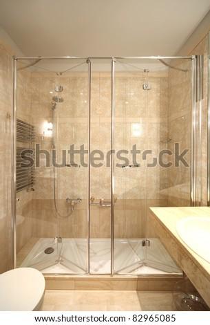 interior luxury apartment, comfortable bathroom - stock photo