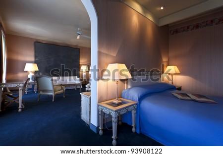 interior luxury apartment, comfortable bedroom - stock photo