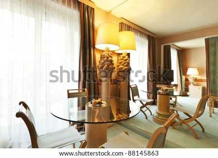 interior luxury apartment, comfortable classic dining room