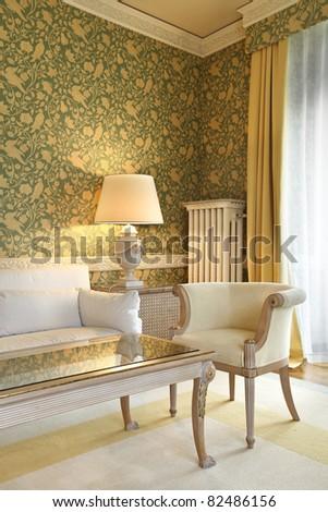 interior luxury apartment, comfortable suit , lounge - stock photo
