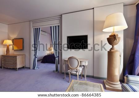 interior luxury apartment, comfortable suite, lounge view - stock photo