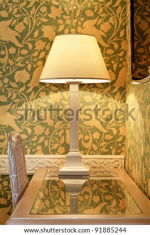 interior luxury apartment, detail room, table lamp on desk