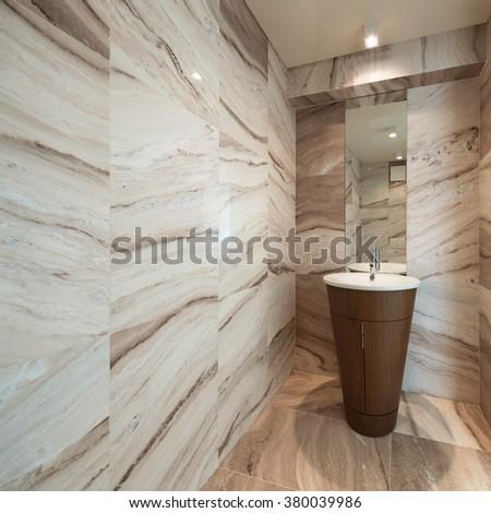 Interior,  marble bathroom with sink modern design - stock photo