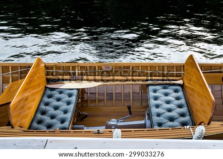"Interior mid section of a vintage wooden ""Disappearing Propeller"" boat - stock photo"