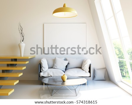 Interior Mockup 3d Render Of Scandinavian Style Room With Big Window Sofa And Staircase