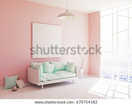 Interior Mockup Illustration Modern Room In Pink Color Design With Sofa And Blank