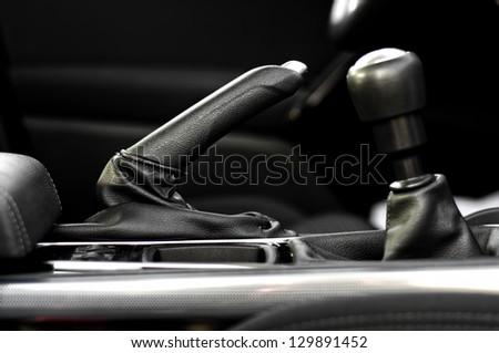 interior modern car elements, close-up - stock photo