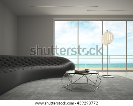 Interior modern design room with sea view 3D rendering - stock photo
